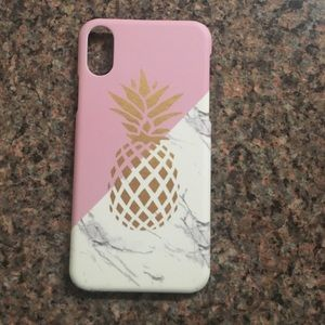 Accessories - iPhone X pineapple gold case with marble pink